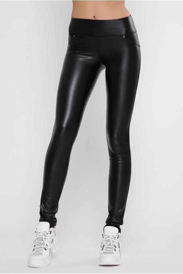 Женские черные кожаные лосины на флисе 47bu342