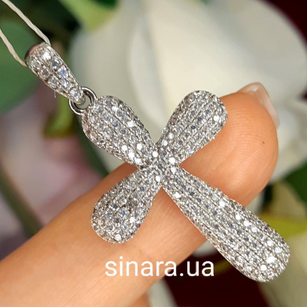 Серебряный крестик с фианитами - Женский серебряный крестик