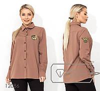 Женская однотонная рубашка (3 цвета) - Капучино НК/-5080, фото 1