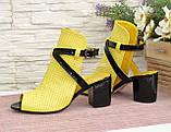 Босоножки женские комбинированные на устойчивом каблуке, фото 2