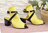 Босоножки женские комбинированные на устойчивом каблуке, фото 4