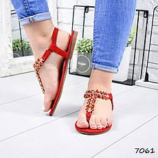 """Босоножки женские, красные с камнями """"Morowe"""" эко замша, сандалии женские, открытые туфли женские, фото 2"""