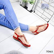 """Босоножки женские, красные с камнями """"Morowe"""" эко замша, сандалии женские, открытые туфли женские, фото 3"""