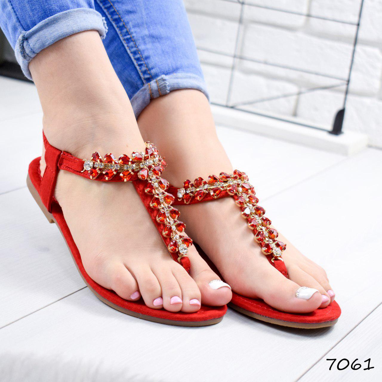 """Босоножки женские, красные с камнями """"Morowe"""" эко замша, сандалии женские, открытые туфли женские"""