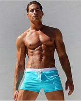 Мужские пляжные шорты AQUX бирюзового цвета,плавания, купания чоловічі шорти плавання купання бірюзові, фото 3