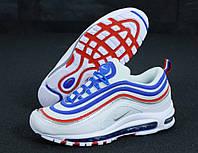 """Кросівки чоловічі шкіряні Nike Air Max 97 """"Білі з смугами"""" найк аір макс р. 42-45, фото 1"""