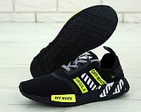 """Кроссовки мужские Adidas Nmd OFF White """"Черные с салатовым"""" р. 41-45, фото 1"""
