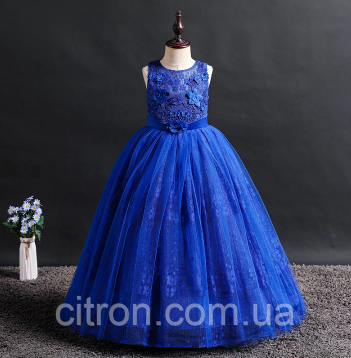 Платье синее бальное выпускное длинное в пол нарядное для девочки в садик или школу