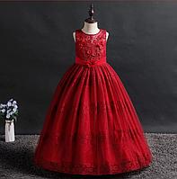 Платье бордовое бальное выпускное длинное в пол нарядное для девочки в садик или школу, фото 1