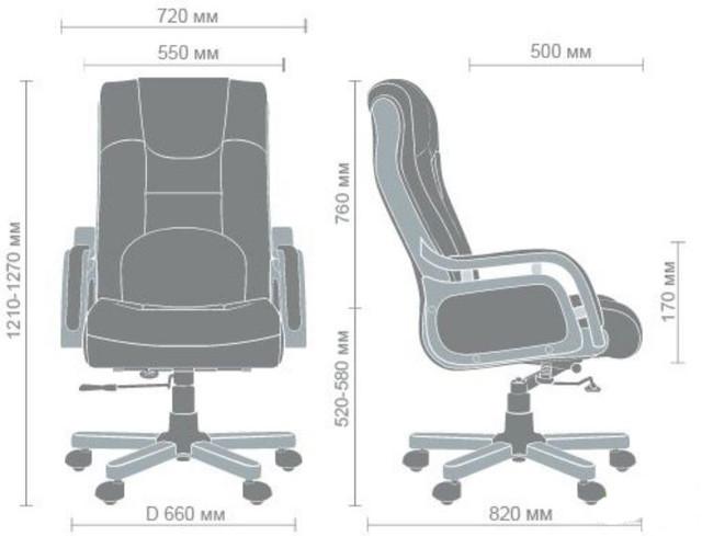 Кресло Ричмонд, кожа коричневая (642-B+PVC) размеры