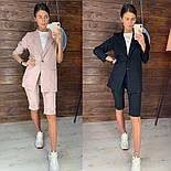 Женский стильный костюм: удлиненный пиджак и удлиненные шорты-бриджи (в расцветках), фото 3