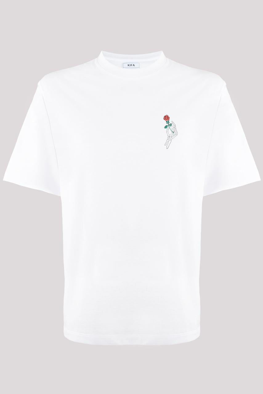 Футболка мужская KIFA ФМХ-019/15 вышивка роза белая