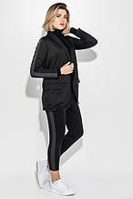 Костюм женский (брюки, пиджак) с контрастной полосой 72PD203 (Черно-грифельный)