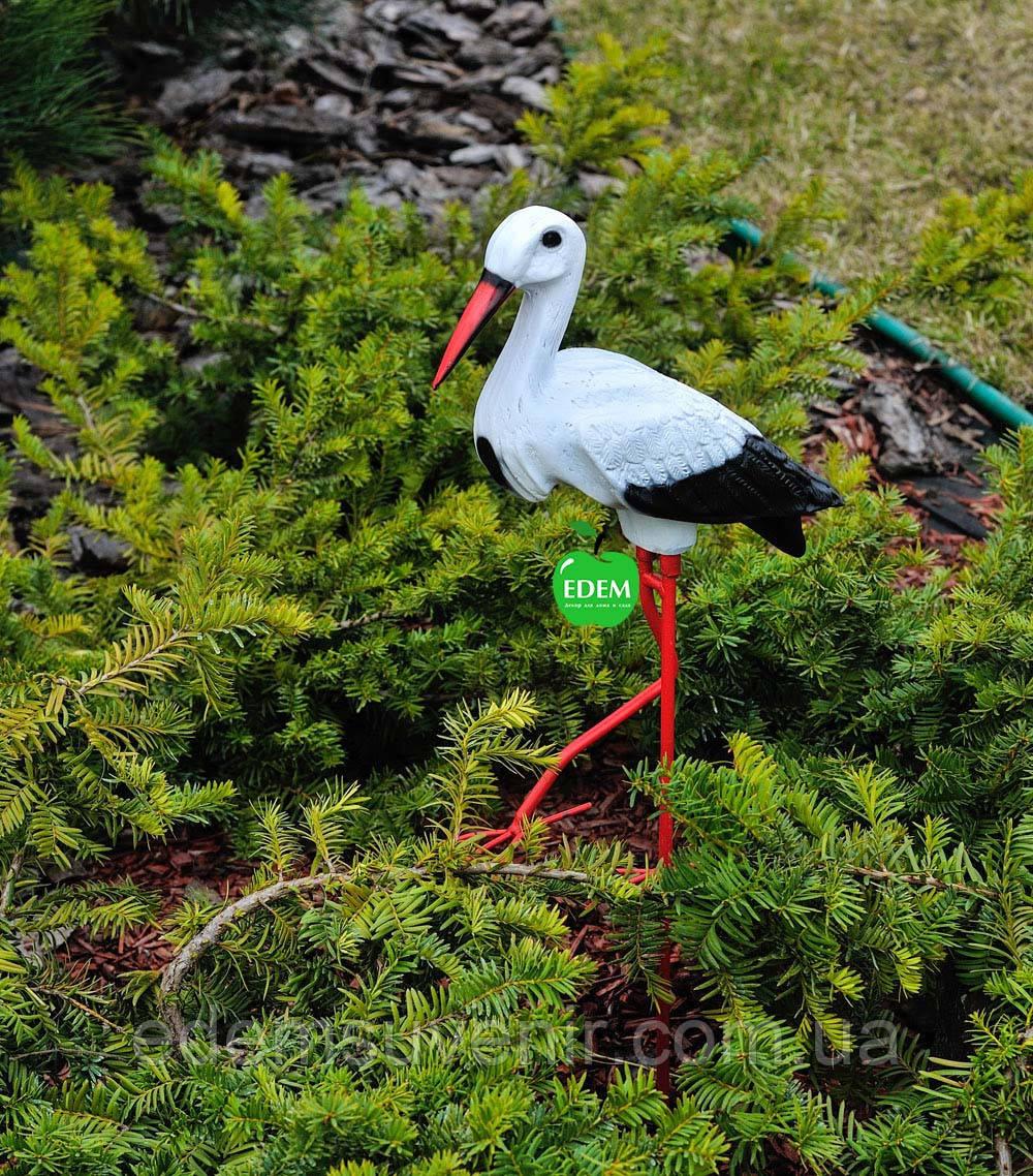 Садовая фигура Аист малый на металлических лапах керамический