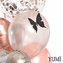 """Коробка """"Любимой"""", Бабл с конфетти и надписью: """"Самой красивой девочке"""", 2 сердца сатин и 6 шаров с бабочками, фото 3"""