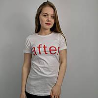 Женская белая футболка с надписью на груди, размер: S, M, XL. Турция