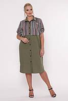 Платье-рубашка Лана р. 52-58 оливка, фото 1