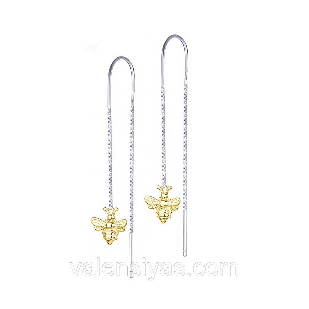 Серебряные серьги - цепочки Пчелки С24/1243