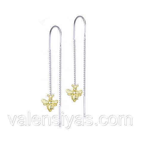 Серебряные серьги - цепочки Пчелки С24/1243, фото 2