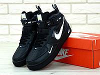 Кроссовки Nike Air Force 1 Mid 07 L.V.8 Utility Pack BLACK черные натуральная кожа (реплика +ААА), фото 1