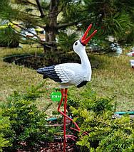 Садовая фигура Аистенок на металлических лапах керамический, фото 2
