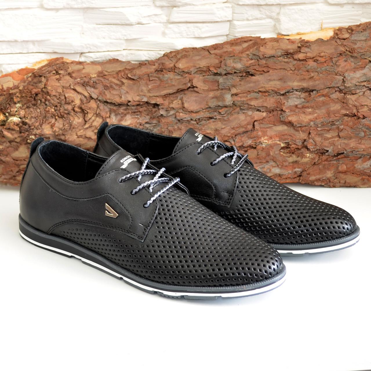 Мужские кожаные черные туфли на шнуровке. В наличии размеры 41-44
