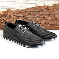 Мужские кожаные черные туфли на шнуровке. В наличии размеры 42,43