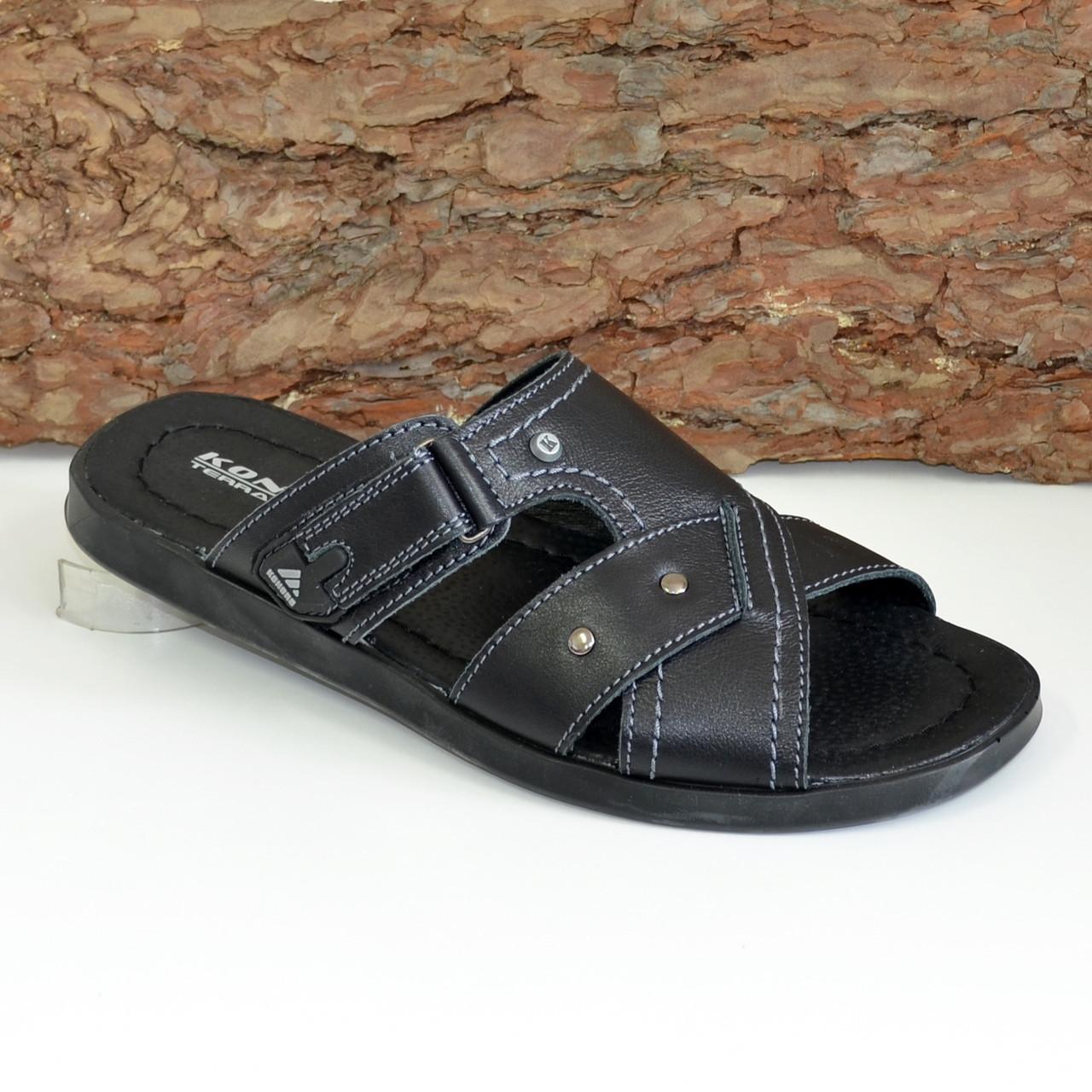 Шлепанцы мужские кожаные черного цвета. В наличии 42-44 размеры