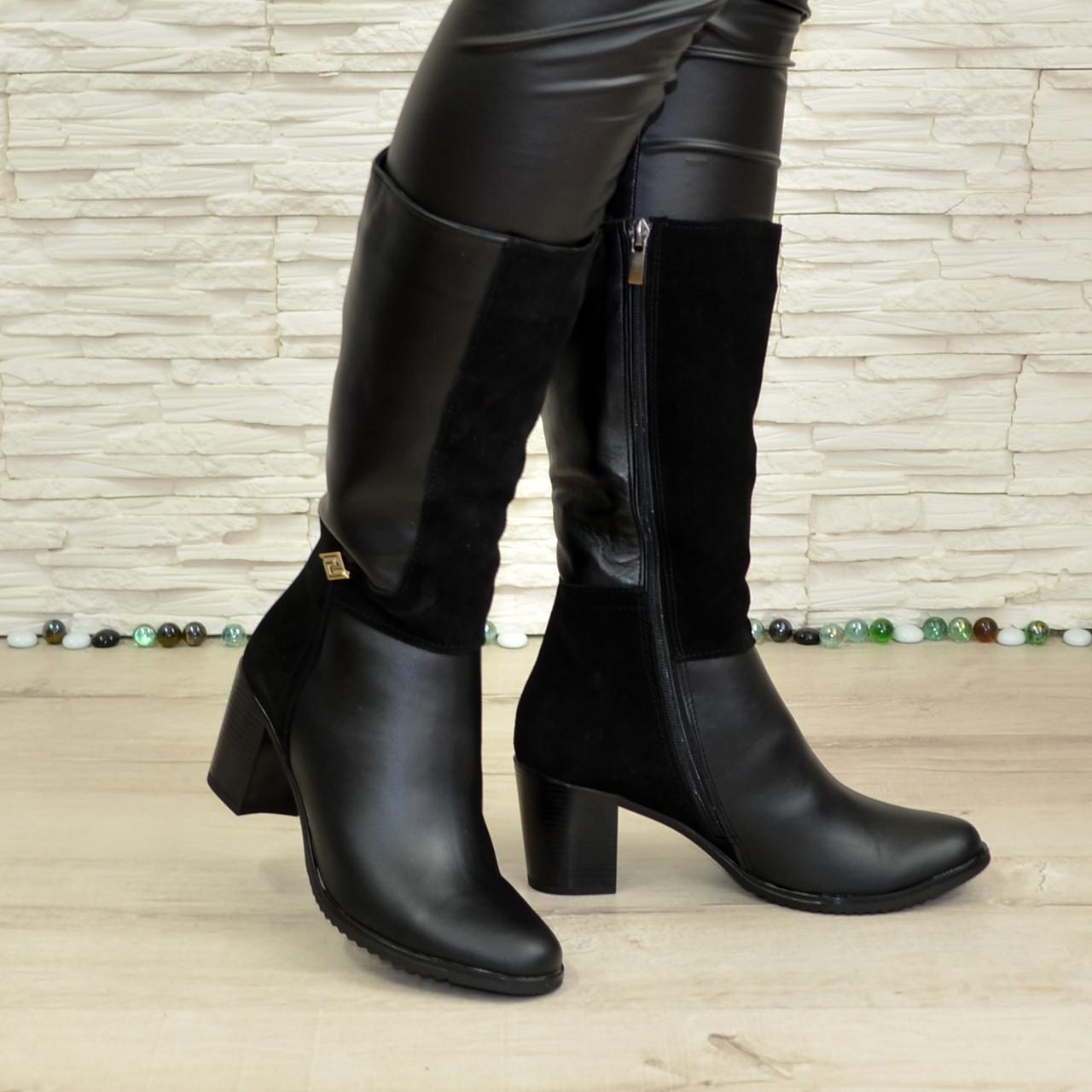 Сапоги зимние на  устойчивом каблуке, натуральная кожа и замш. 37 размер