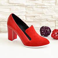 Женские классические красные туфли на высоком каблуке, натуральная замша и кожа. 39 размер