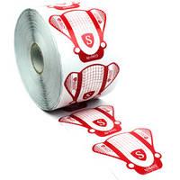 Формы для наращивания ногтей Salon - белый с красным, 500 шт