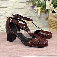Босоножки комбинированные на устойчивом каблуке, цвет бордо