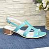 Босоножки женские лаковые на маленьком каблуке, цвет мята, фото 2