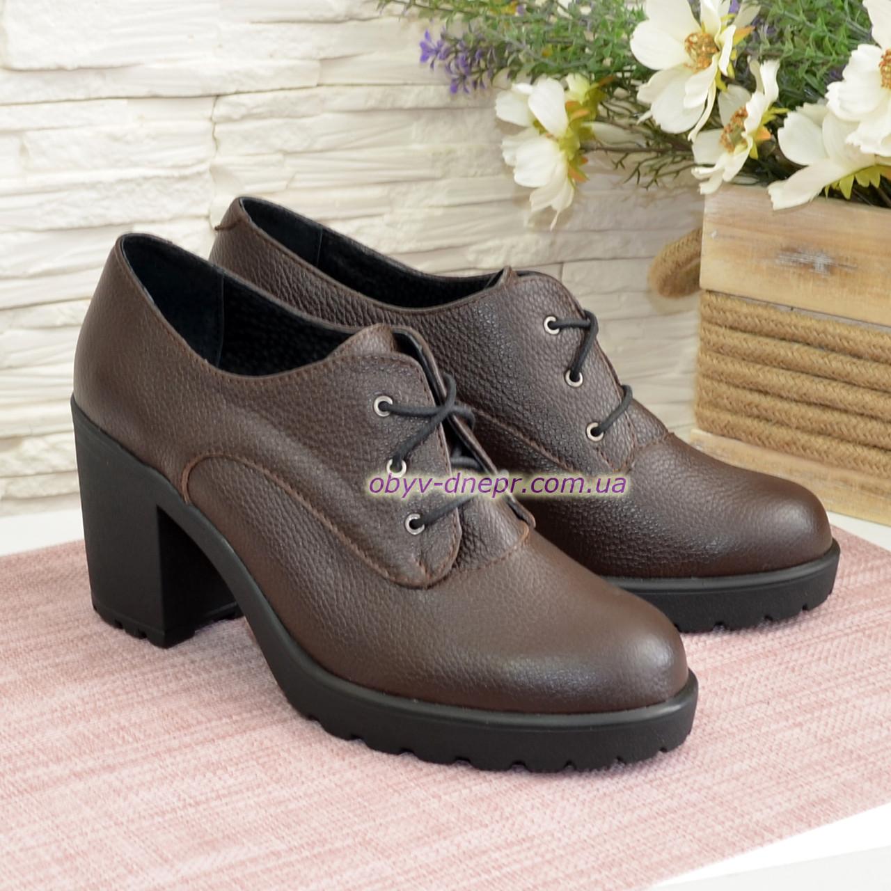 Женские кожаные туфли на устойчивом каблуке, цвет коричневый