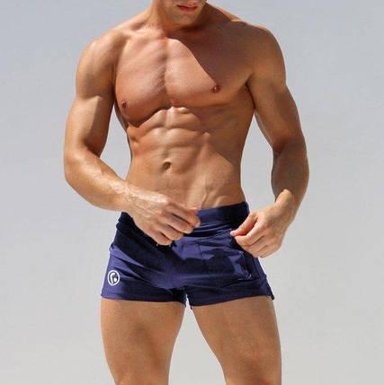 Мужские пляжные шорты AQUX СИНИЕ Сетка, карман,плавания, купания чоловічі шорти плавання купання темно-сині, фото 2