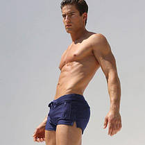 Мужские пляжные шорты AQUX СИНИЕ Сетка, карман,плавания, купания чоловічі шорти плавання купання темно-сині, фото 3
