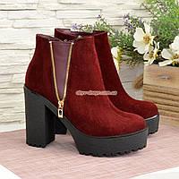 Ботинки замшевые демисезонные на устойчивом каблуке, цвет бордо, фото 1