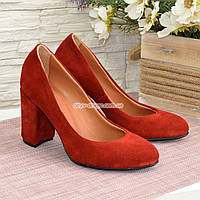 """Туфли женские замшевые на высоком каблуке, цвет красный. ТМ """"Maestro"""""""