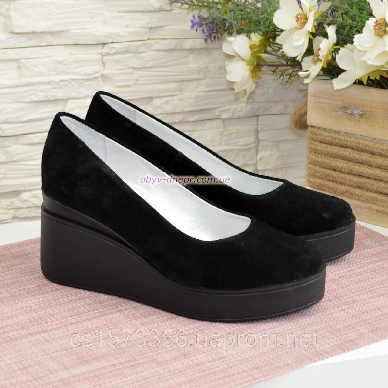 Женские замшевые туфли на устойчивой платформе, цвет черный