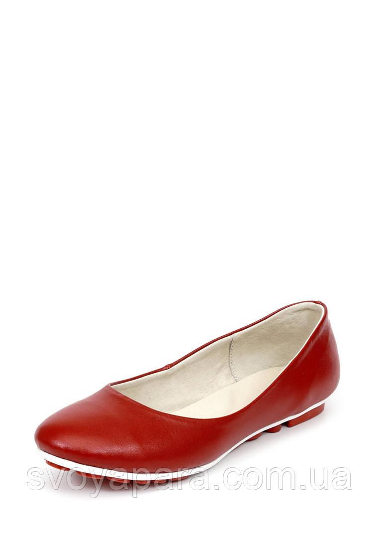 Балетки женские кожаные красного цвета на термопластичной подошве