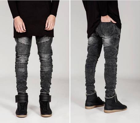 Серые Гетто Swag джинсы узкачи слимфит  Biker Jeans SlimFit, фото 2