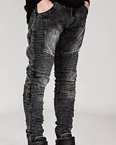 Серые Гетто Swag джинсы узкачи слимфит  Biker Jeans SlimFit, фото 3