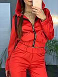 Женский модный атласный повседневный костюм с молниями (в расцветках), фото 7