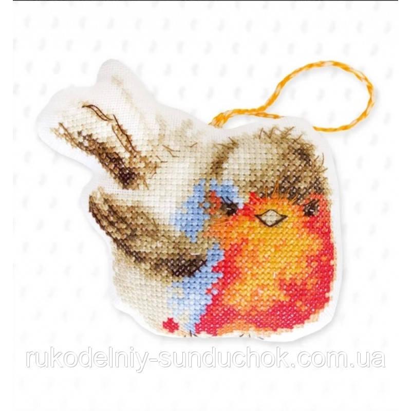 Набор для вышивки крестом Luca-S Ёлочная игрушка - JK029 Зимняя птичка