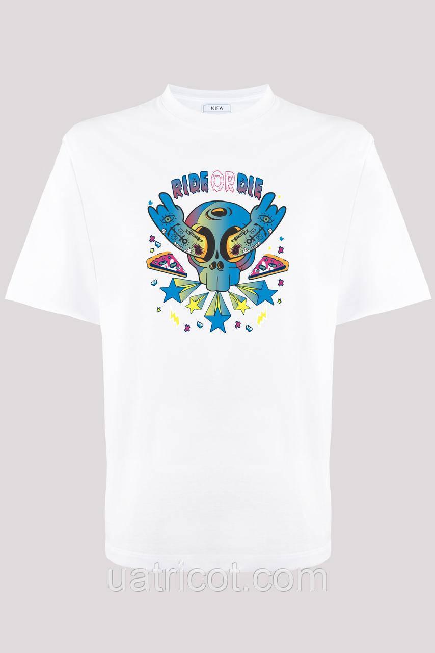 Футболка мужская KIFA ФМХ-019/15 RIDE OR DIE белая