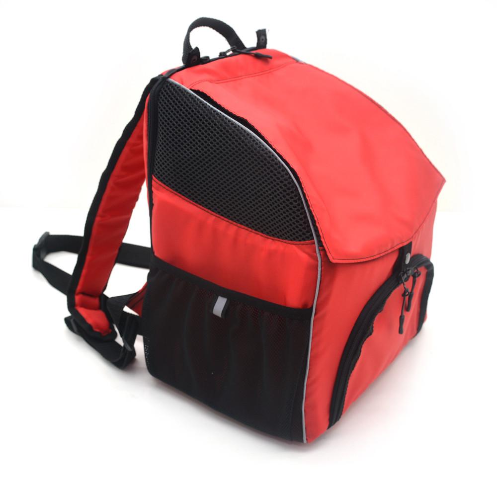 Рюкзак для переноски котов и собак Турист №0 16 х 26 х 30 см красный