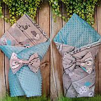 Двухсторонний конверт- одеяло со съемным синтепоном Плюш+хлопок, фото 1