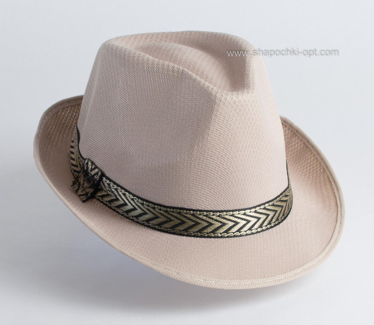 Річна капелюх чоловічого стилю федори з стрічкою унісекс колір бежевий