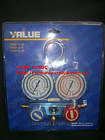 Манометрический коллектор универсальный VMG-2-R410 A-B-02 (R-22,134,410,407)с шлангами Value БЛИСТЕР