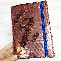 Блокнот на резинке с  пайетками А5, фото 1